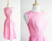 1950s Dress 50s Dress - Pink Dress / Cotton 1950s Dress / Summer Dress Size: M