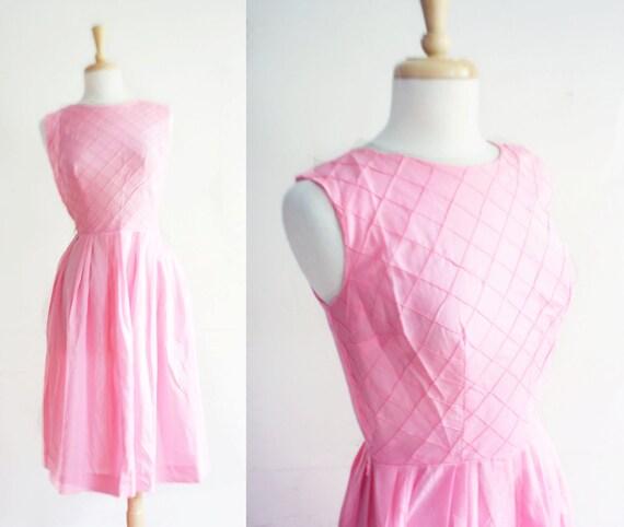 1950s Dress 50s Dress - Pink Dress / Cotton 1950s Dress / Summer Dress Size: M