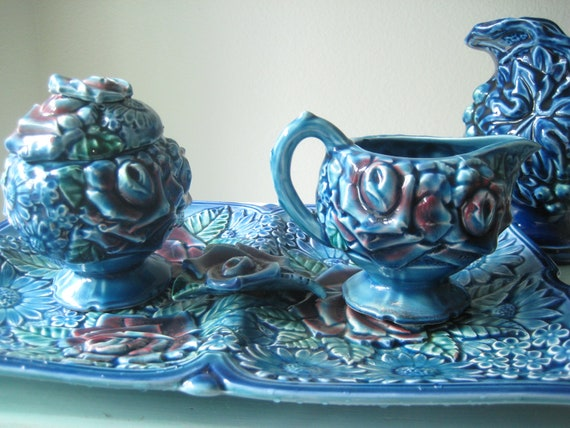 RESERVED for Mike....Royal Bouquet by Unicorn Cream and Sugar Set / Made in Japan / Rare Floral Pottery Syrup Pitcher