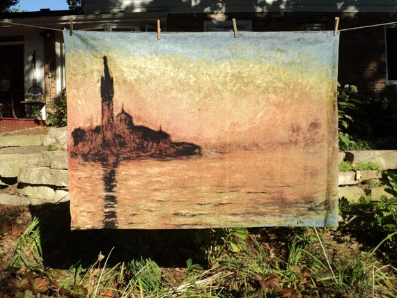 "Vintage Wall Tapestry of Claude Monet's "" Sunset in Venice"", Original Oil Painting, A Well Done, Machine Made Woven Textile in Mint Conditon"