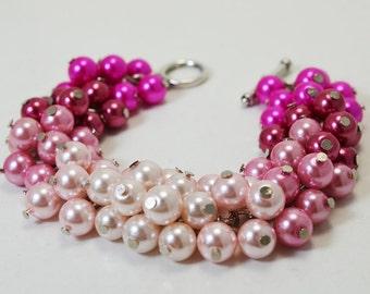 Pink Ombré Pearl Bracelet , Pearl Bracelet, Pink Chunky Bracelet, Bridal Jewelry, Pearl Jewelry, Shades of Pink Bracelet, Pink Pearl Jewelry