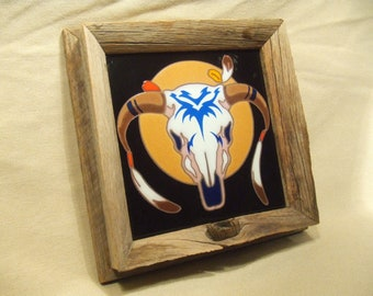 Rustic framed cow skull tile  made in Italy 1980's southwest cabin lodge