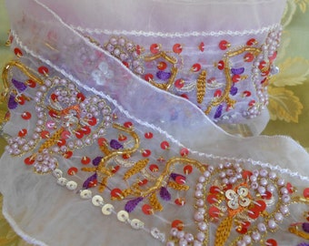 Lavender Beaded and Sequined Trim