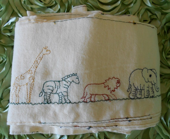 RESERVED for WENDY Soft Cotton Flannel Embroidered Animal Trim