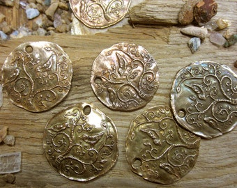 Bronze Sparrow and Vines Coin Pendant
