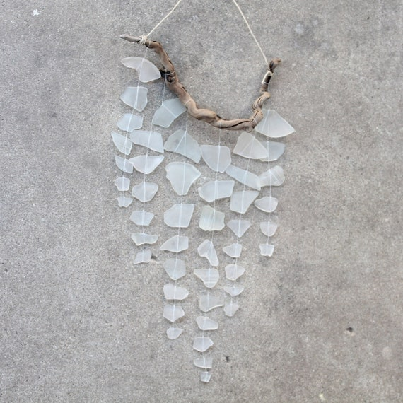 RESERVED Sea Glass & Driftwood Mobile - White