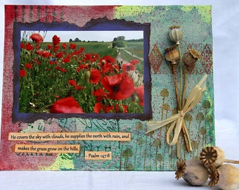 Red Poppies Photo Mixed Media Painting, Dried Poppy Seed Pods, Bible Quote, Original Artwork, Home Decor, Wall Hanging