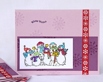 Playfull Snowmen Christmas Cards, Boxed Set of 8 Handmade Holiday Cards, Snowmen Selling Snowballs, Winter Wishes, Lavender Notecards