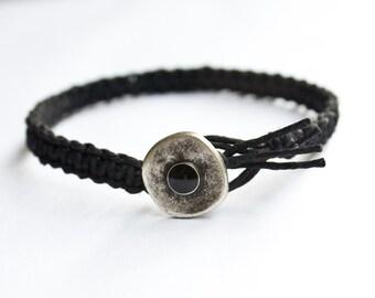 Black Hemp Bracelet with Metal Button, Friendship Bracelet,  Best Friend Gift, Mans Bracelet, Womans Bracelet, Shank Button Bracelet