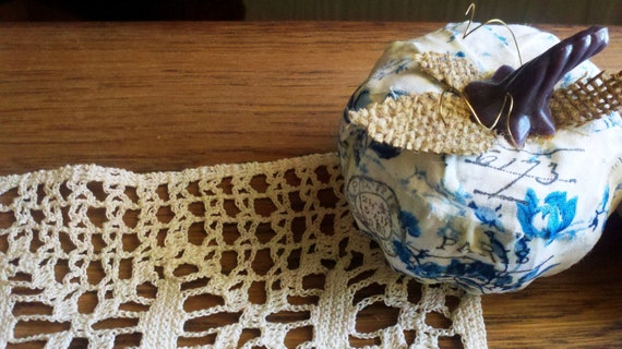 Paper Mache Mini Pumpkin for Autumn/Fall/Thanksgiving or Everyday Decor - Blue Cloth With Paris Post Stamping