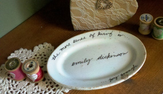 Vintage Bailey-Walker Small White Oval Dish With Emily Dickinson Quote-The Mere Sense of Living is Joy Enough
