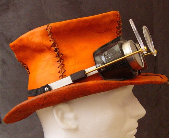 Leather Top Hat with Steampunk Goggles by FloggleWerks on Etsy