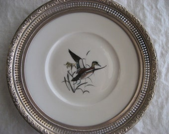 Antique Vintage Sterling Silver China Porcelain Plate Frank W Whiting Bird Duck Handpainted Signed Rare Collectable