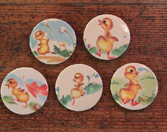 Set of 5 - Handmade Magnets from Vintage Children's Book (Little Yellow Chicks)