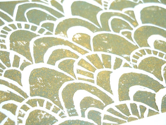 Green and Gold Abstract Scale Pattern Block Print