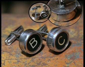 """Typewriter Key Cufflinks EXQUISITE set in sterling silver. Your specific letter or numbers and message on back  """"Ask A Question"""" or """"Convo"""""""