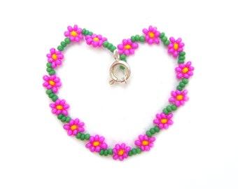 Pink Childrens Bracelet: Girls Flower Bracelet, Childrens Jewelry, Fuchsia Floral Bracelet UK