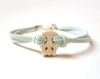 Mint Skull Bracelet, Pastel Green Friendship Bracelet, Turquoise Jewelry, Under 20