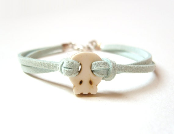 Mint Skull Bracelet, Pastel Green Friendship Bracelet, Turquoise Jewelry, Under 20