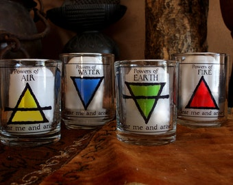 Altar Candle decals for elemental quarters or Watchtowers - Ceremonial Magic - or Witchcraft Ritual