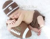 Crochet Football Hat & Diaper Cover Baby Photo Prop