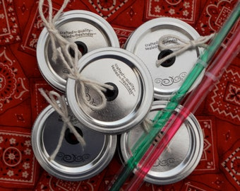 Mason Jar Drink Lids and Straws - Set of 5 - Create your own Mason Jar Tumbler