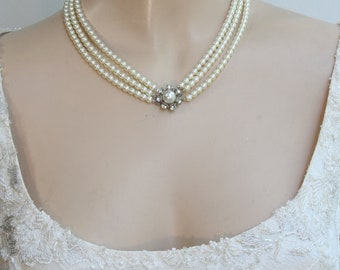 Bridal Pearls Necklace Ivory Bridal Necklace Victorian Wedding Necklace Multistrand Pearls Necklace Vintage Choker 1920 Inspiration