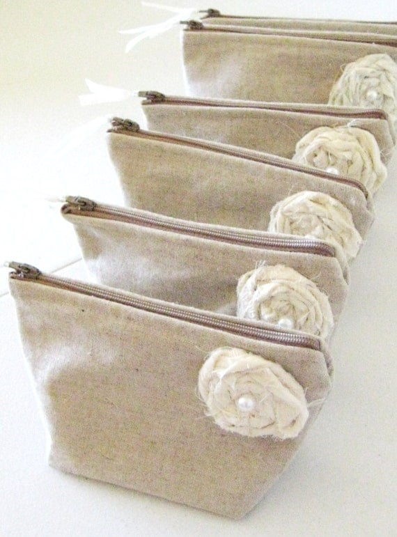Reserved for Brittany- Fall Wedding Bridesmaid Clutch Purse, Linen, Bridemsaids Gift, Wedding -Set of 10