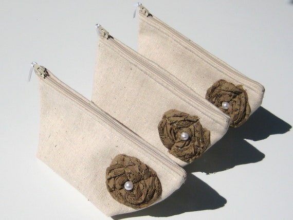 Reserved for Becky - Autumn Wedding Bridesmaid Clutches with Brown Lace Roses, Linen Bridesmaid Purse - One bag