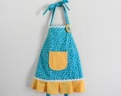 Blue and Yellow Daisy Girls Apron