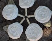 Custom Listing (Cassie) Rose Wedding Boutonniere Set of 16
