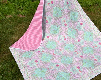 Handmade Quilt Modern  Quilt Modern Quilts Art Quilt Shabby Boho Chic Hippie Patchwork Aqua Pink Lavender Funky Print Patchwork Quilt