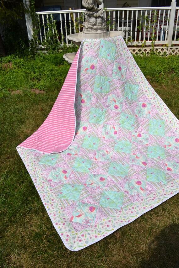 Handmade Quilt Modern Hippie Patchwork Aqua Pink Lavender Funky Print Patchwork Quilt