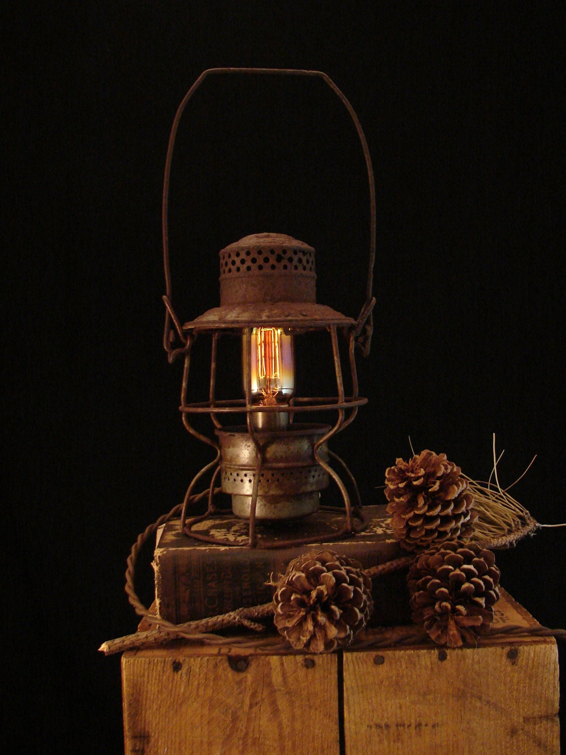 Upcycled Vintage Railroad Lantern Lamp With Filament Bulb