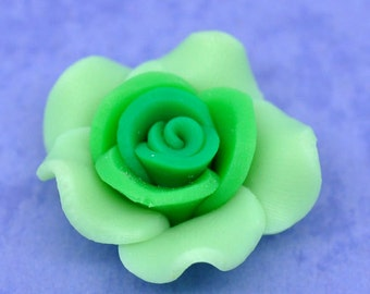 SALE 5 Green Flower Beads - Polymer Clay - Rose - 25x14mm - Ships IMMEDIATELY from California - B109