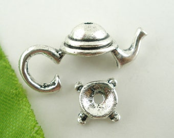 3 sets Silver Teapot Bead Cap Set Findings 21x9mm - Ships Immediately from California - SC247
