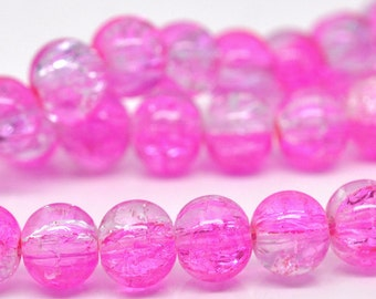 105 Pink and Clear Crackle Beads 8mm - Glass - 1 Strand - Ships IMMEDIATELY from California - B220