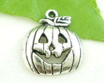 Silver Pumpkin Charms Halloween 18x16mm 8pcs - Ships IMMEDIATELY  from California - SC369