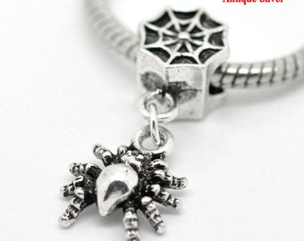 Spider Web Charms Dangle Beads Silver 13x31mm 5pcs- Ships IMMEDIATELY from California - B350