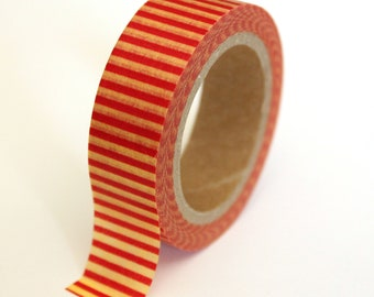 SALE Washi Tape - Red and Yellow Stripe #2 - 15mm x 10m - 1 Roll - Ships IMMEDIATELY from California - TP123