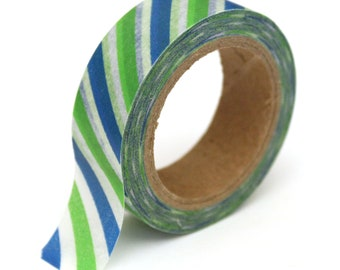 SALE Washi Tape Stripes Blue and Green - 15mm x 10m - TP138