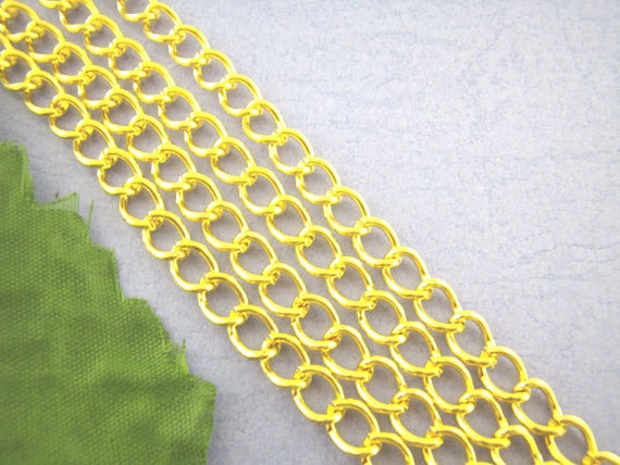 6.5 feet Gold Curb Link Chain 6x8mm - Ships Immediately from California - CH50