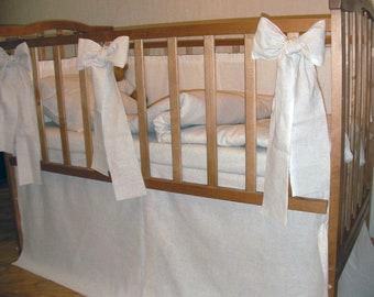 Linen Crib Bedding Oatmeal Grey Gray Helen (duvet cover, pillowcase, fitted sheet) ECO