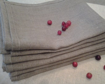 Linen NAPKINs Set of 4 Natural Organic Flax Grey Gray  ECO Friendly