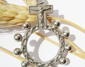 Vintage one decade Crucifix Rosary religious Ring with Crucifix signed ITALY  code M121