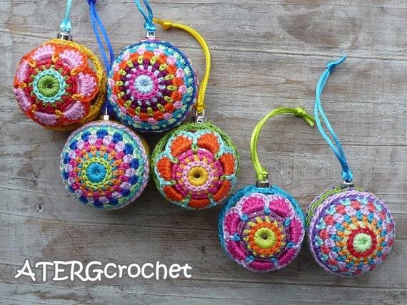 Christmas ball set by ATERGcrochet (ready to ship)