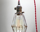 Industrial BRASS PATINA Cage Light - Edison Pendant Light Fixture, 12' Red Twisted Cord, Plug-in