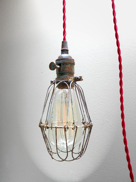 Items Similar To Industrial Brass Patina Cage Light
