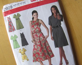 Uncut Simplicity 2929 - Misses Womens Pullover Dress in Two Lengths with Bodice Variations and Tie Belt - Size 20W-28W
