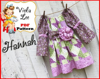 Hannah.. Girl's Long Sleeve Peasant Dress Pattern. pdf Sewing Pattern, Girl's Dress Pattern, Toddler Dress Pattern. Girl's Dress Pattern